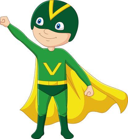 Illustration for Vector illustration of Cartoon superhero boy isolated on white - Royalty Free Image