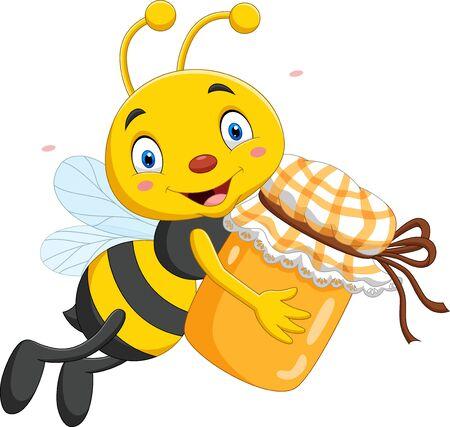 Illustration for Vector illustration of Cartoon little bee holding honey jar - Royalty Free Image