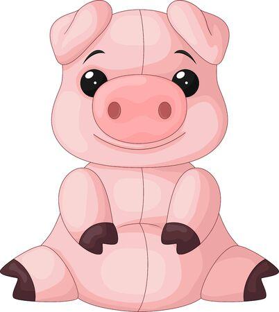 Illustration pour Vector illustration of Cute baby pig cartoon sitting - image libre de droit