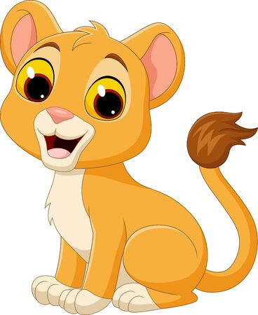 Illustration for Vector illustration of Cartoon baby lioness isolated on white background - Royalty Free Image