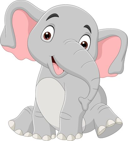 Illustration for Vector illustration of Cartoon funny elephant sitting isolated on white background - Royalty Free Image
