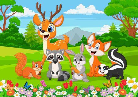 Foto de Vector illustration of  Cartoon wild animals in the jungle - Imagen libre de derechos