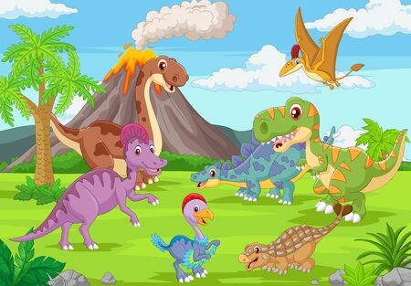 Illustration pour Vector illustration of Group of funny dinosaurs in the jungle - image libre de droit