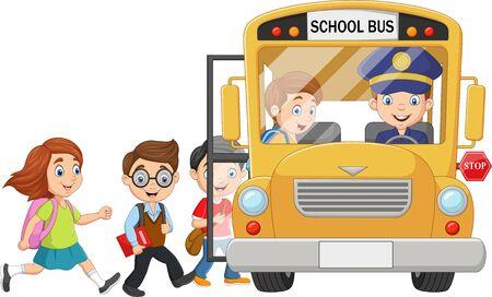 Illustration for Vector illustration of Cartoon happy children boarding a school bus - Royalty Free Image