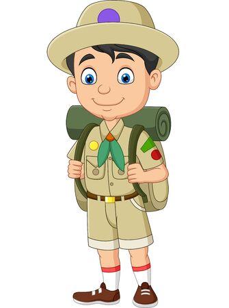 Ilustración de Vector illustration of Cartoon happy little boy scout - Imagen libre de derechos