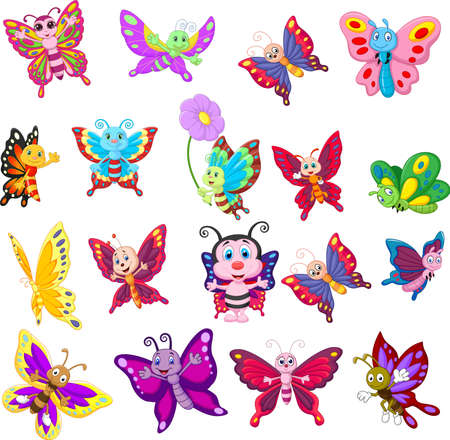 Illustration for Cartoon collection of butterfly on white background - Royalty Free Image