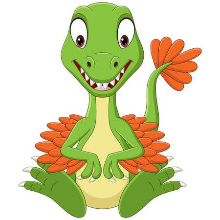 Illustration pour Cartoon baby velociraptor dinosaur sitting - image libre de droit