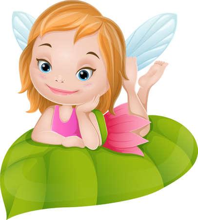 Ilustración de Cartoon little fairy on green leaf - Imagen libre de derechos