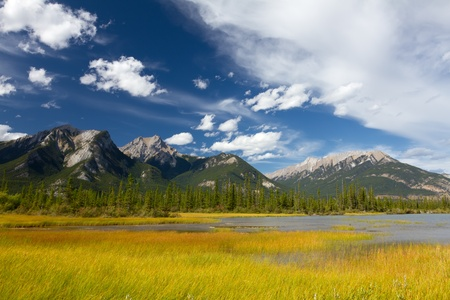 Beautiful Canadian Landscape Swampy Lake Rocky Mountains and Cloudy Sky. Photo is taken in