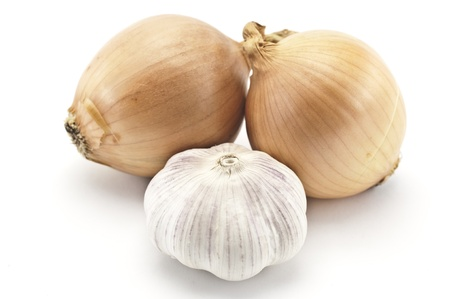 Garlic and onions on a white background
