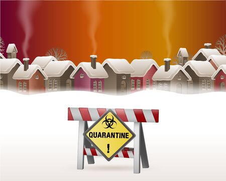 Illustration pour People cannot enter the village because there is a virus. Quarantine concept where there is a prohibition of others from entering the village. Vector illustration. - image libre de droit