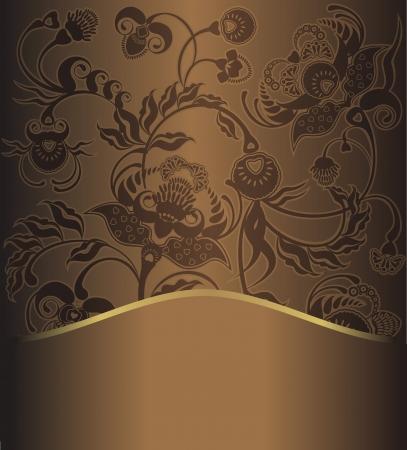 floral design, brown pattern retro