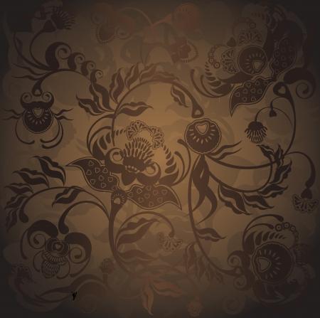 floral design, dark pattern gradient