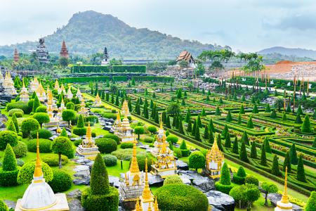 CHONBURI, THAILAND - March 18, 2016: Landscape tropical park in Nong Nooch Tropical Botanical Garden. Nong Nooch Tropical Botanical Garden is a 500-acre botanical garden in Chonburi, Thailand. Selective focus