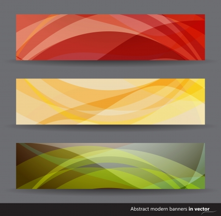 Collection of modern abstract horizontal banners in different colors