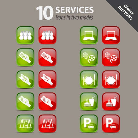 Collection of services glossy buttons