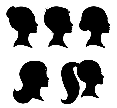 Collection of woman silhouettes from profile with different hair styles isolated on white