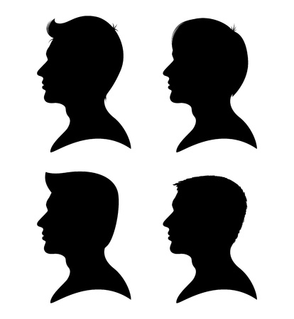 Collection of man silhouettes from profile with different hair styles isolated on white