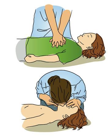 Illustration pour Vector Cartoon - CPR for child. - image libre de droit