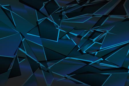 Black blue shadow low polygon abstract background, broken glass triangular wallpaper, geometric technology banner, dark polygonal texture, dusk night vector backdrop, shiny crystal pattern design.