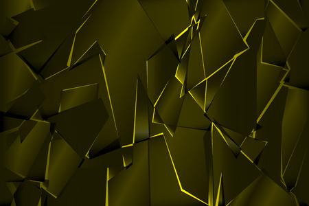 Black yellow shadow low polygon abstract background, broken glass triangular wallpaper, geometric technology banner, dark polygonal texture, dusk night vector backdrop, shiny crystal pattern design.