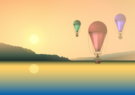 Illustration pour Air balloons of different colors on the background of a summer beautiful sunset or dawn, flying over the water, lake or river. Realistic Vector Illustration - image libre de droit
