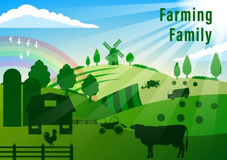 Illustration for Country Landscape. Farming. Summer Rural landscape. Cow, rooster, agricultural technique, windmill, green hills, fields, trees on a blue sky background. Flat style vector illustration - Royalty Free Image