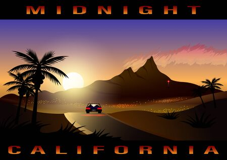 Illustration pour California, midnight city, tropical landscape. Lonely car on the road in the sunlight. Journey Sunset highway Vector Illustration - image libre de droit