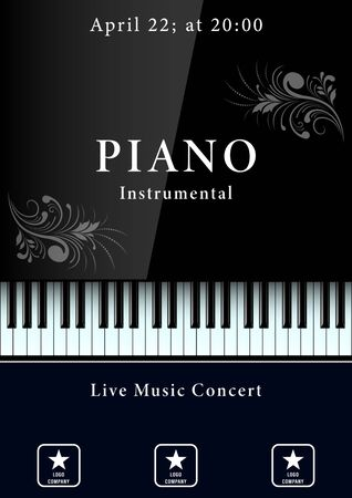 Illustration pour Classical music concert poster. Realistic piano keyboard with patterns. Vector Illustration - image libre de droit