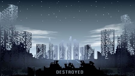 Illustration for Panorama of the destroyed city against the night starry sky - Royalty Free Image
