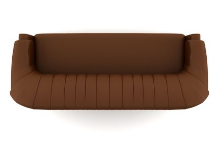 top view of brown leather sofa