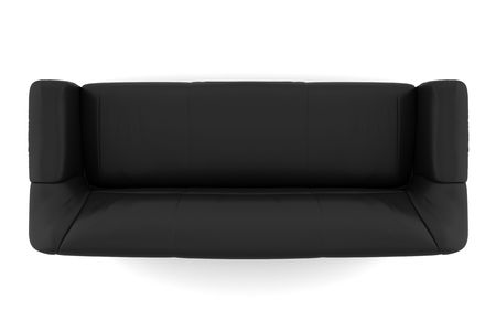 top view of black leather sofa