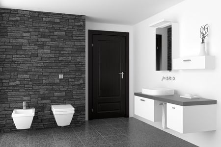 modern bathroom with black stone wall and white equipment