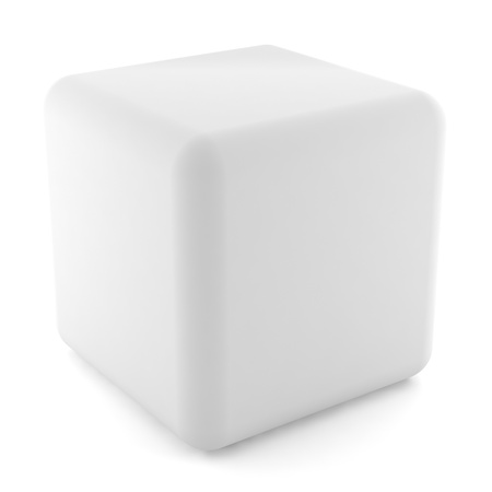 blank white cube isolated on white background with clipping path