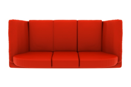 modern red leather couch isolated on white background. top view