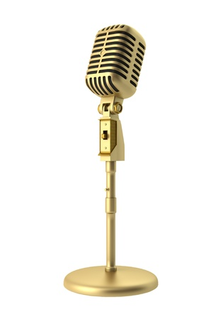 golden vintage microphone isolated on white background