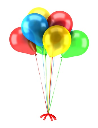 Foto für multicolored party balloons with ribbons isolated on white background - Lizenzfreies Bild