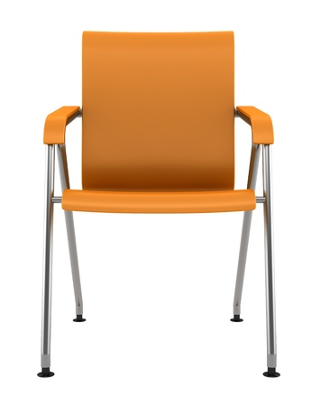 modern orange chair isolated on white background