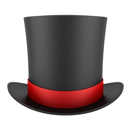 Foto de black top hat with red strip isolated on white background - Imagen libre de derechos