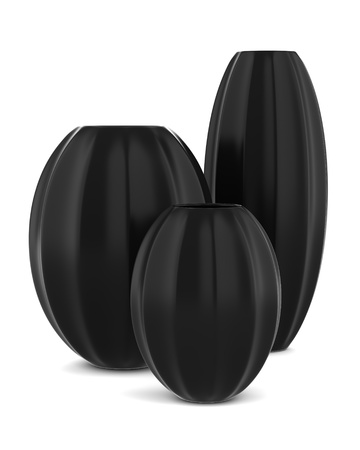 three black vases isolated on white background