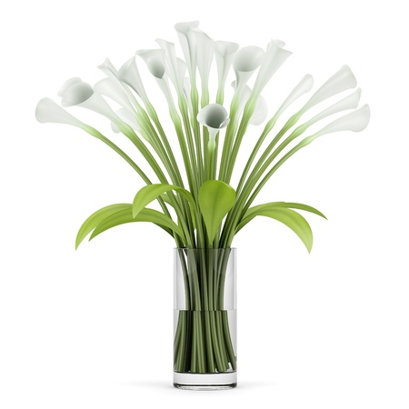 bouquet of lilies in glass vase isolated on white background