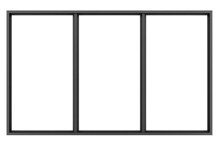 Foto de black metallic window isolated on white background - Imagen libre de derechos