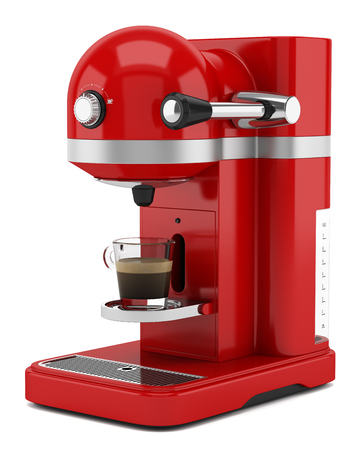 Photo pour red coffee machine isolated on white background - image libre de droit
