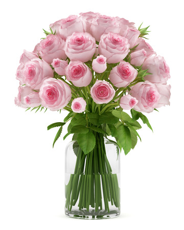 Photo pour bouquet of pink roses in glass vase isolated on white background - image libre de droit