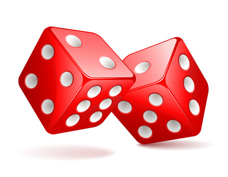 Vector illustration of red dices