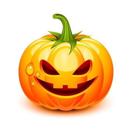 Halloween pumpkin face in a glossy style