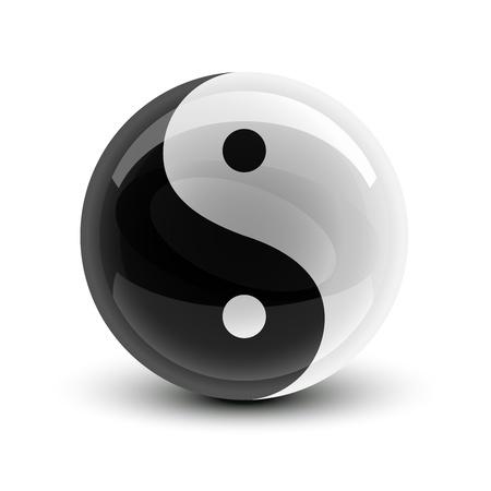 Ilustración de Yin and Yang symbol on a glossy ball - Imagen libre de derechos
