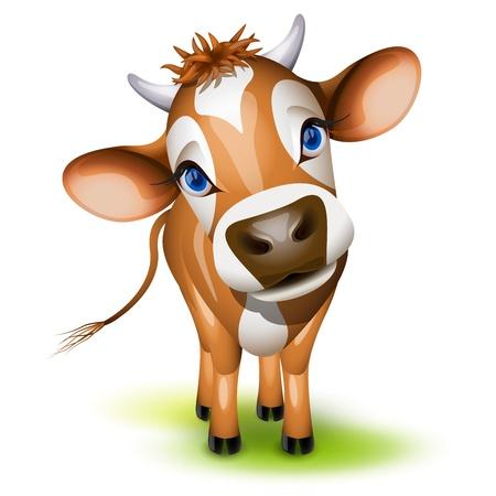 Ilustración de Little jersey cow with a cocked head and blue eyes - Imagen libre de derechos