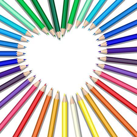 Illustration pour Colored pencils in a heart shape - image libre de droit