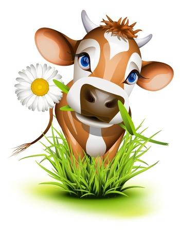 Ilustración de Jersey cow in green grass - Imagen libre de derechos